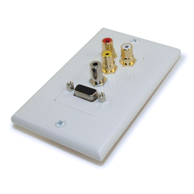 Wall plate: VGA, 3.5mm Audio, and 3 RCA, Nickel Plated, Decor, White