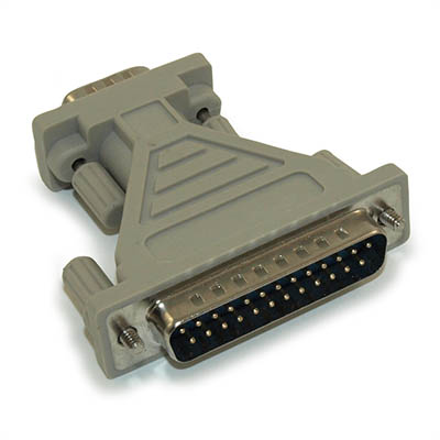 DB9 Male to DB25 Male, Adapter, (Serial Port) Molded