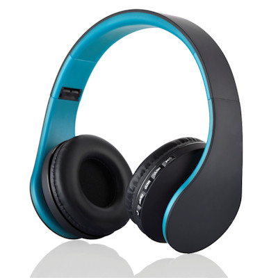 Premium Bluetooth-3 Stereo Headphone with Mic, FM Radio, MicroSD, Blue