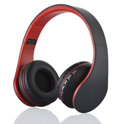 Premium Bluetooth-3 Stereo Headphone with Mic, FM Radio, MicroSD, Red