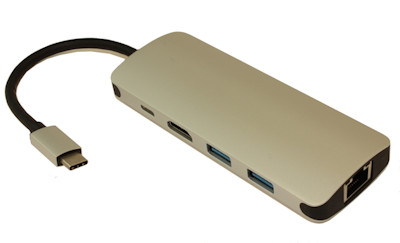 USB 3.1 Type C Male to HDMI (4Kx2K), CAT5/6, Type-C, 2xA Female Out Adapter